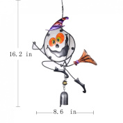 YUFENG Halloween party Decoration Pumpkin Cat Witch Enamelled Glass Ornaments Wind Chimes