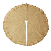 Burlap Tree Skirt Round Ruffled Edge, Natural, 120cm