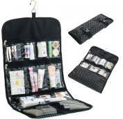 Hanging Toiletry Bag for Women ODESSA. Ideal for Storing Cosmetics, Makeup and Jewellery in an Organised Way. Large Size, Various Compartments. Black with White Polka Dots.