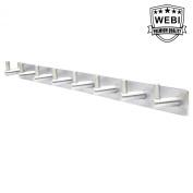 WEBI L-YZ08 Heavy Duty Stainless Steel 304 Hook Rail Coat Rack with 8 Hooks, Satin Finish, Great Home Storage & Organisation For Bedroom, Bathroom, Foyers, Hallways