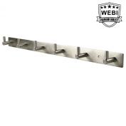 WEBI L-YZ06 Heavy Duty Stainless Steel 304 Hook Rail Coat Rack with 6 Hooks, Satin Finish, Great Home Storage & Organisation For Bedroom, Bathroom, Foyers, Hallways