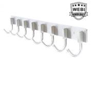 WEBI J-CF08 Heavy Duty Stainless Steel 304 Hook Rail Coat Rack with 8 Hooks, Satin Finish, Great Home Storage & Organisation For Bedroom, Bathroom, Foyers, Hallways