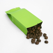 100 Matte Green Wide-Style Side-Gusset Aluminium Foil Open Top Mylar Bags w/ Tear Notches Outer Size 5.5x12cm