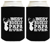 Father's Day Gift Best Buckin' Papa Funny Beer Coolie 2 Pack Gift for Grandpa or Dad Can Coolie Drink Coolers Coolies Black