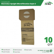 10 Electrolux U Upright Vacuum Bags by ZVac; Allergy Paper Filtered Vacuum Cleaner Bags fits Electrolux Vacs; Replaces Type U OEM GermGrabber TM Genuine Bags by Electrolux