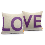 Ojia 46cm X 46cm Cotton Linen Decorative Couple Throw Pillow Cover Cushion Case Couple Pillow Case with Gift Card, Set of 2 - Love