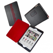 "The Rise iPad Air 1 & 2 Designer Leather Stand Case with Auto Sleep in Black with Scarlet Red ""wall"" design & lining"