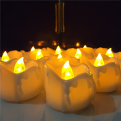 Micandle 12pcs Amber Yellow Flickering Candles with Timing Function(6 Hours On,18 Hours Off), Flameless LED Tea Lights Candles with Timer, Wax Dripped Battery Operated Electronic Candles for Wedding