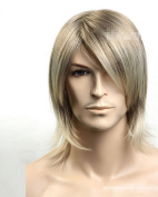 New Natural Long Sand Blond Man Boy Wig Synthetic