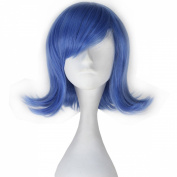 Miss U Hair Movie Sadness Blue Short Wavy Girl's Anime Cosplay Full Wig