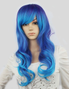 WY Blue Sky Girl Women 60cm Purple Blue Mixed Two Tone Punk Ombre Long Full Natural Curly Wave Layered Medium Lolita Side Swept Bangs Fringe Synthetic Cosplay Wig Party Wig Fashion + Free Wig Cap