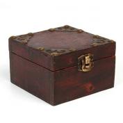 Charminer 9.8*9.8*6cm Big Vintage Wooden Jewellery Gift Box Storage Oraganizer Case Metal Lock Holder