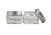 4pcs 50ml Transparent Cylindrical Cream Cosmetic Glass Conrainers Jars with Silver Aluminium Screw Cap