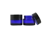 30ml 1 oz Cobalt Blue Glass Cosmetic Containers Jars Straight Sided Jar Black Lid 4pcs