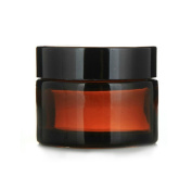 4pcs 0.7 oz 20ml Empty Amber Glass Straight Sided Jar Cosmetic Containers Black Lid
