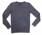 Kirkland Signature Womens V-neck Sweater, Pima Cotton Blend (Large, Smog