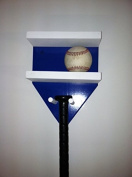 Baseball Bat Rack and Ball Holder Display Meant to Hold 1 Full Size Bat and 4 Baseballs Blue White