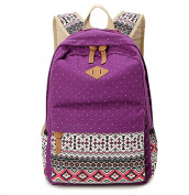 Hitop Geometry Dot Casual Canvas Backpack Bag, Fashion Cute Lightweight Backpacks for Teen Young Girls