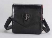Victoria Leland Designs 82586 Bag-Cross Body Vegan Leather withMetallic Cross Accents - Black