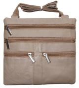 Women's Leather Cross Body Bag 18cm X 18cm Cream By Ag Wallets New