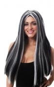 Halloween 65cm Long Black & White Morticia wig