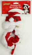 Toy Small Dog Christmas Santa Hat & Collar Set Jingle Bells Xmas Pet