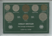 1954-1956 Queen Elizabeth II Great Britain British Coin Collection Collector Type Set