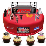 WWE Wrestling Happy Birthday Stand Up Scene Premium Edible Wafer Paper Cake Toppers Decorations