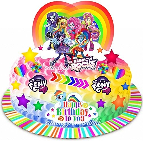EDIBLE MY LITTLE PONY EQUESTRIA GIRLS RAINBOW CAKE SCENE WAFER CARD TOPPER By Cake Toppers Nikki