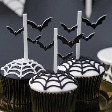Ginger Ray Black Halloween Bat Cupcake / Food Party Toppers x 20 - Trick Or Treat