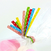50 ASSORTED POLKA DOT TWIST TIES for cone bags, cello and cellophane bags