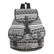 Mytom Retro Lady Girls Ethnic Versatile Canvas Satchel Backpack Casual Bag Leisure Schoolbag