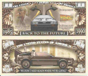 Novelty Dollar Back To The Future DeLorean Sports Car Time Machine Million Dollar Bills x 4