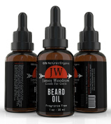 James Woodrow Collection Beard Oil Conditioner - Best Blend of Oils for Beard Grooming and Skin Care - Softens and Promotes Growth - Stops Itching - Pure Organic Natural Unscented Balm for Men
