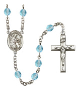 Silver Plate Rosary features 6mm Aqua Fire Polished beads. The Crucifix measures 1 3/8 x 3/4. The centrepiece features a St. Eustachius medal.