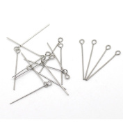 HOUSWEETY Stainless Steel Jewellery Finding 500pcs Silver Tone Eye Pins Findings 30x0.7mm