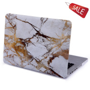 KRight® Retina 33cm Shell White Marble Hard Case Cover for Apple MacBook Pro 34cm with Retina Display A1502 / A1425