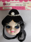 Mangelsen's Craft LIVING DOLL HEAD 'SUZANNE' 7.6cm - 1.3cm Long w BLACK HAIR & Faux PEARLS Around Hair BUN
