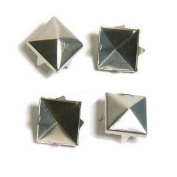 Haobase 100 PCS 10mm Leathercraft DIY Silver Metal Punk Spikes Spots Pyramid Studs Goth