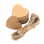 OULII Kraft Paper Christmas Gift & Wedding Favour & price Tags with 10M String, Heart Shaped Scalloped, Pack of 100pcs