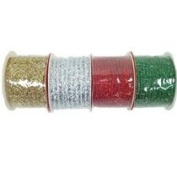 Christmas House Glittery Mesh Ribbon, 3-yd. Spools Pack of 4 Various Colours