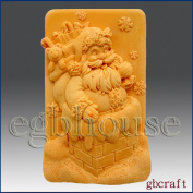 Santa in the Chimney- Soap/candle/polymer/clay/cold Porcelain 2d Silicone Mould