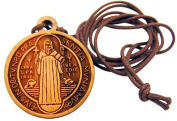 Olive Wood St Benedict One Inch Medal on a Leather Cord