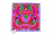 Purple Orchid Tribal Textile Thai Hmong Embroidered Fashionable Style
