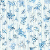 Quilting Treasures 'Flora Bleu' Flower Bunches and Mini Stripes Cotton Fabric