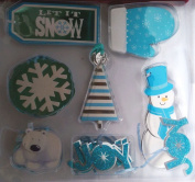 Holiday Time 40 Deluxe Foil Gift Tags ~ Let It Snow, Snowman, Polar Bear, Joy, Blue and White