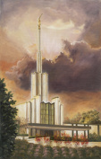 Oil Painting Print of LDS Temple, Painted by Stewart Huntington -17x11