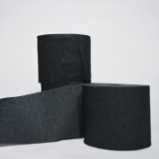 Quasimoon Black Crepe Paper Streamer Party Decorations (60m Total, 3 Pack) by PaperLanternStore