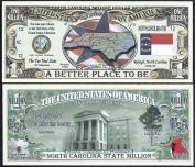 North Carolina State Million Dollar W Map, Seal, Flag, Capitol - Lot of 25 Bills