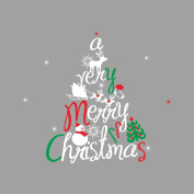 Amaonm® Removable Words Merry Christmas Tree Santa Deer Snowman Wall Decals New Year Room Wall Stickers Decoration Home Art Decor for Bedroom Windows Shop Store Showcase